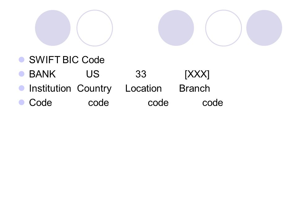 SWIFT BIC Code BANK US 33 [XXX] Institution Country Location Branch.